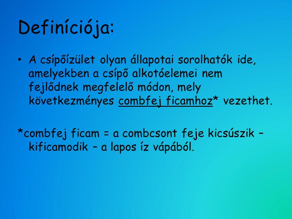 Definíciója: • A csípőízület olyan állapotai sorolhatók ide, amelyekben a csípő alkotóelemei nem fejlődnek megfelelő módon, mely következményes combfe