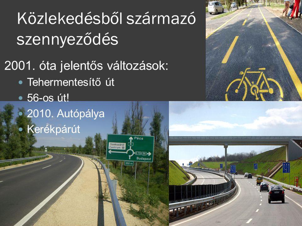 Közlekedésből származó szennyeződés 2001. óta jelentős változások:  Tehermentesítő út  56-os út!  2010. Autópálya  Kerékpárút