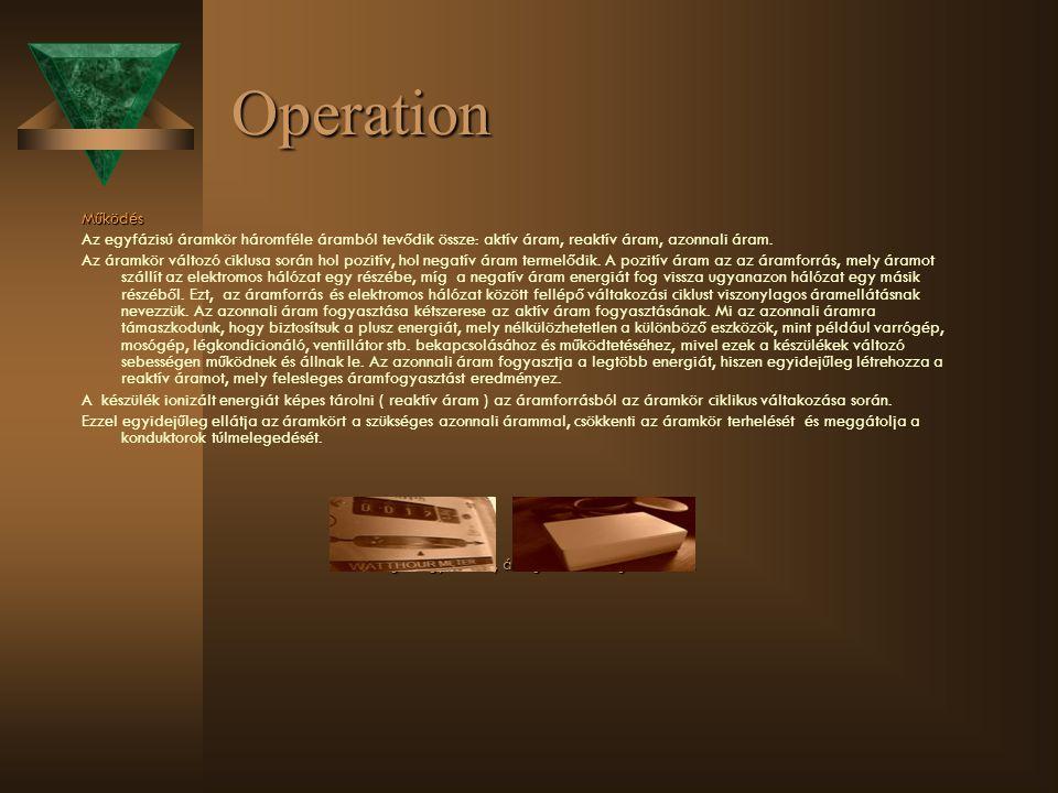 Operation Működés Az egyfázisú áramkör háromféle áramból tevődik össze: aktív áram, reaktív áram, azonnali áram. Az áramkör változó ciklusa során hol