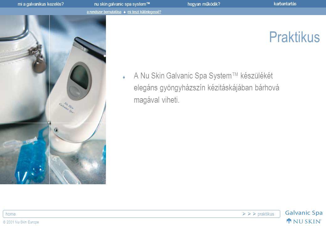 mi a galvanikus kezelés?karbantartásnu skin galvanic spa system™hogyan működik? home © 2001 Nu Skin Europe Praktikus  A Nu Skin Galvanic Spa System™