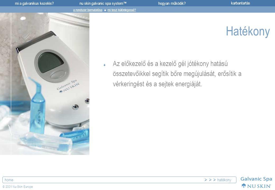 mi a galvanikus kezelés?karbantartásnu skin galvanic spa system™hogyan működik? home © 2001 Nu Skin Europe Hatékony  Az előkezelő és a kezelő gél jót