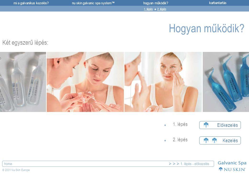 mi a galvanikus kezelés?karbantartásnu skin galvanic spa system™hogyan működik? home © 2001 Nu Skin Europe Hogyan működik? Két egyszerű lépés: Előkeze