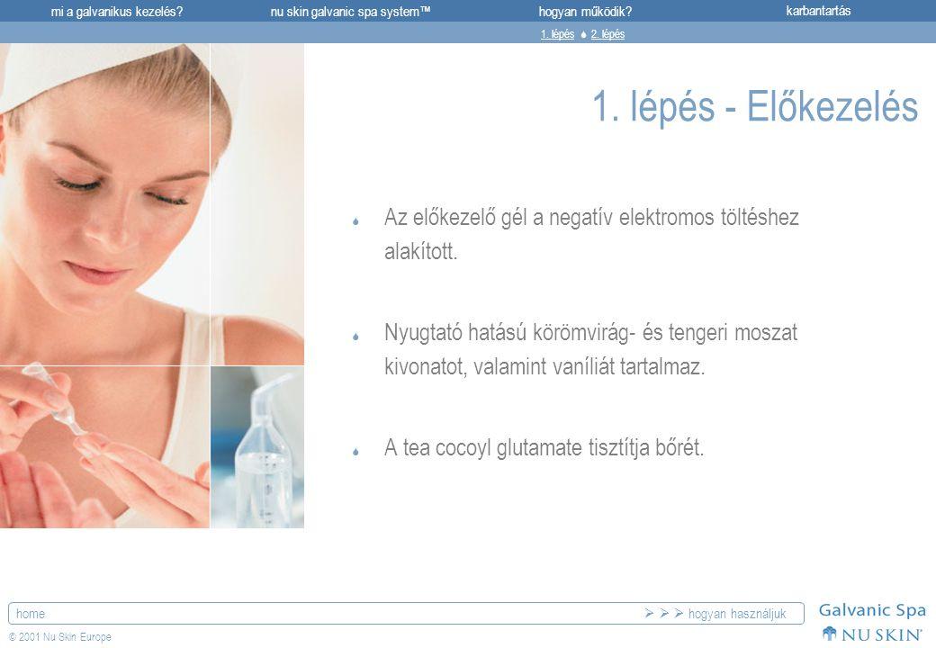 mi a galvanikus kezelés?karbantartásnu skin galvanic spa system™hogyan működik? home © 2001 Nu Skin Europe 1. lépés - Előkezelés  Az előkezelő gél a