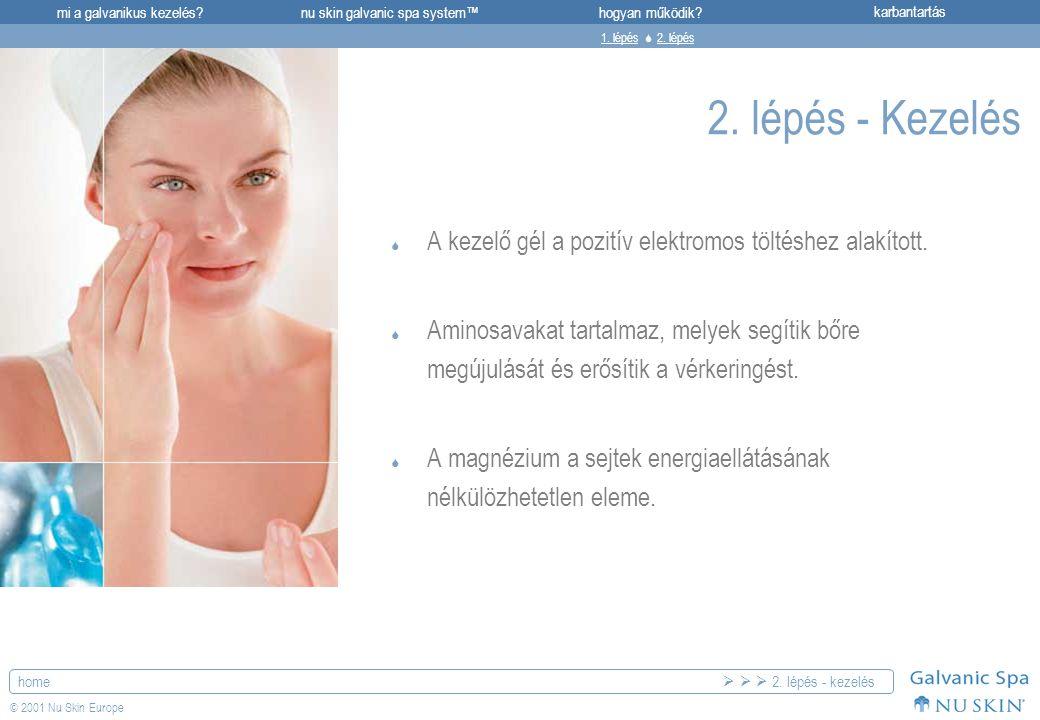 mi a galvanikus kezelés?karbantartásnu skin galvanic spa system™hogyan működik? home © 2001 Nu Skin Europe 2. lépés - Kezelés  A kezelő gél a pozitív
