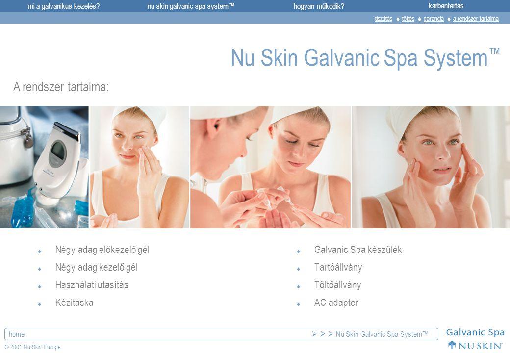 mi a galvanikus kezelés?karbantartásnu skin galvanic spa system™hogyan működik? home © 2001 Nu Skin Europe Nu Skin Galvanic Spa System ™  Galvanic Sp
