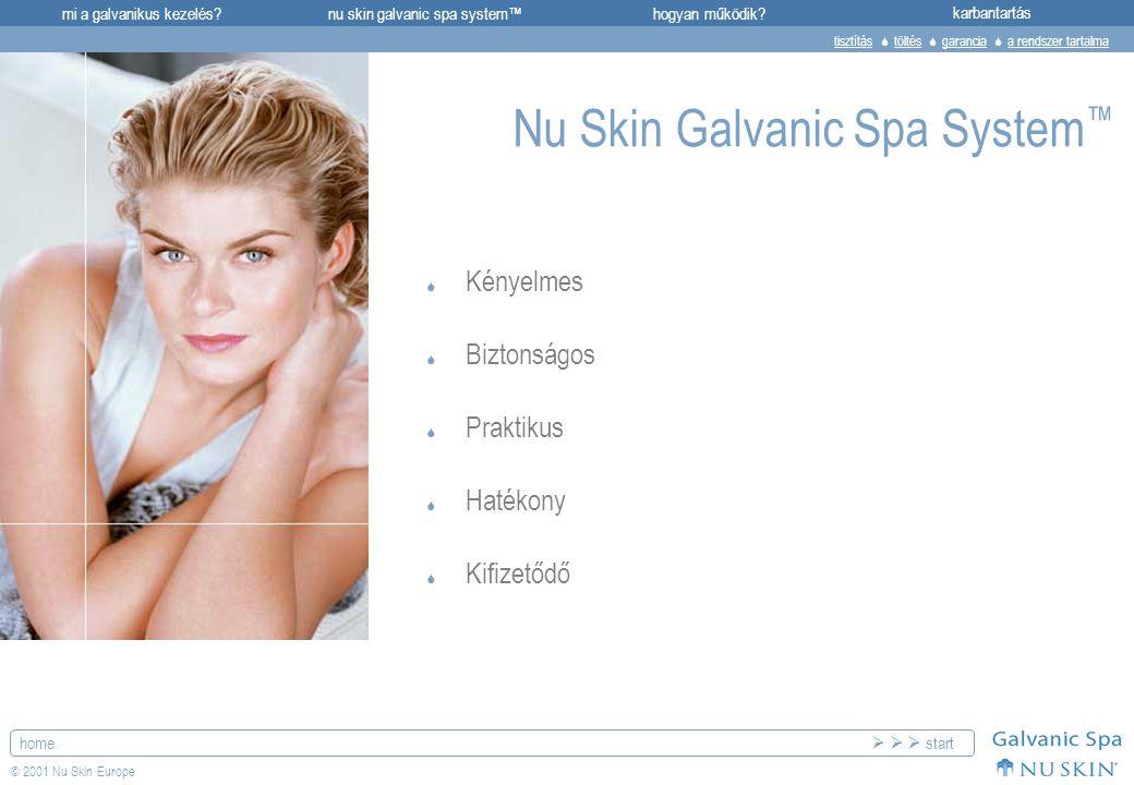mi a galvanikus kezelés?karbantartásnu skin galvanic spa system™hogyan működik? home © 2001 Nu Skin Europe  Kényelmes  Biztonságos  Praktikus  Hat