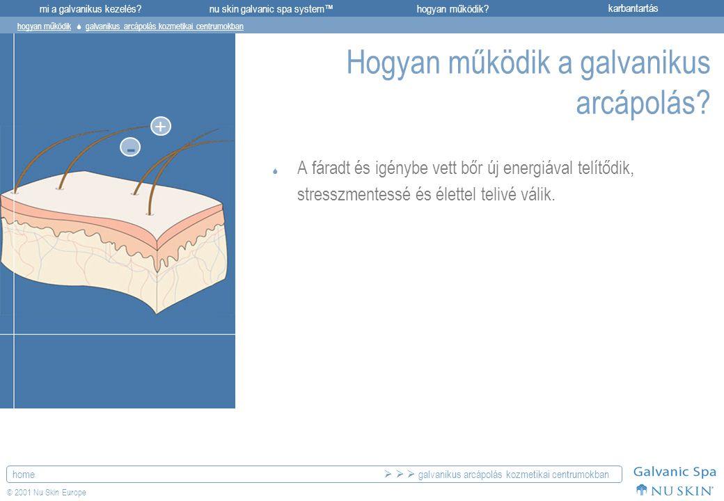 mi a galvanikus kezelés?karbantartásnu skin galvanic spa system™hogyan működik? home © 2001 Nu Skin Europe + - Hogyan működik a galvanikus arcápolás?
