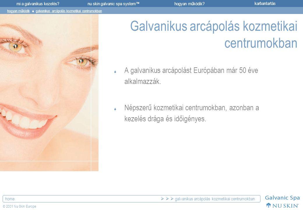 mi a galvanikus kezelés?karbantartásnu skin galvanic spa system™hogyan működik? home © 2001 Nu Skin Europe Galvanikus arcápolás kozmetikai centrumokba