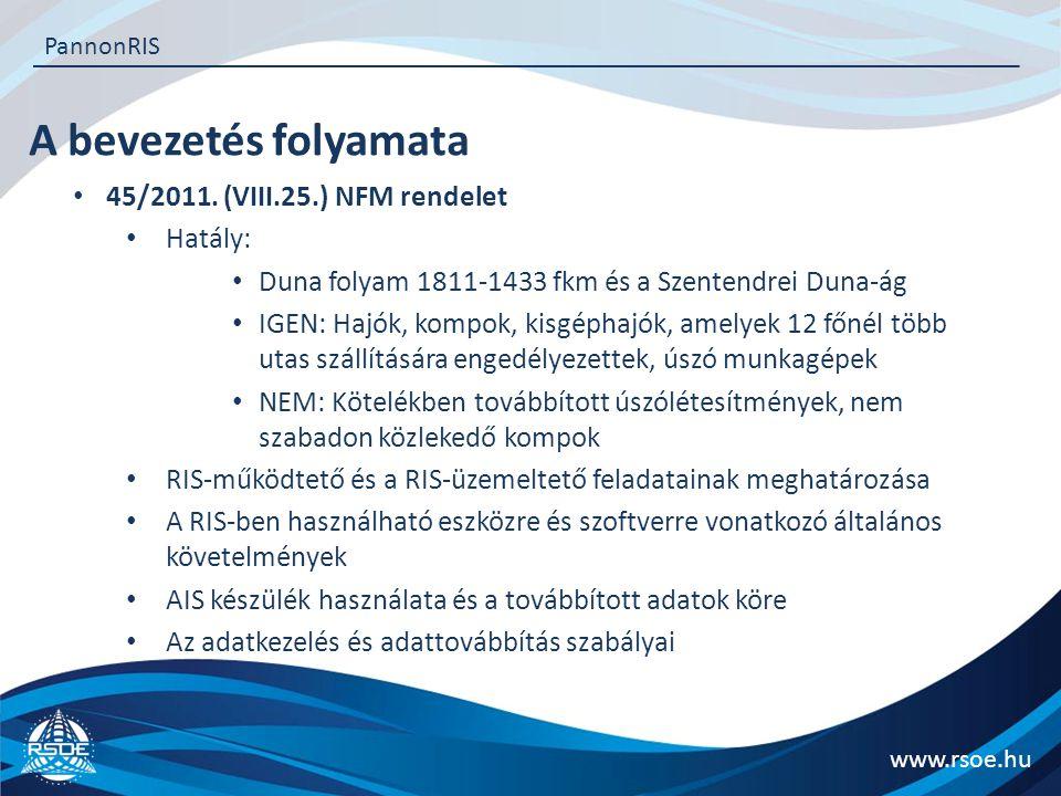 A bevezetés folyamata www.rsoe.hu PannonRIS 45/2011. (VIII.25.) NFM rendelet Hatály: Duna folyam 1811-1433 fkm és a Szentendrei Duna-ág IGEN: Hajók, k