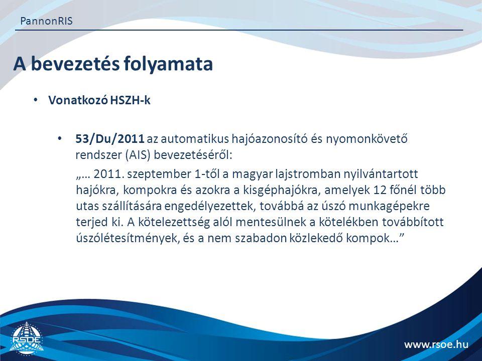 """A bevezetés folyamata www.rsoe.hu PannonRIS Vonatkozó HSZH-k 53/Du/2011 az automatikus hajóazonosító és nyomonkövető rendszer (AIS) bevezetéséről: """"…"""