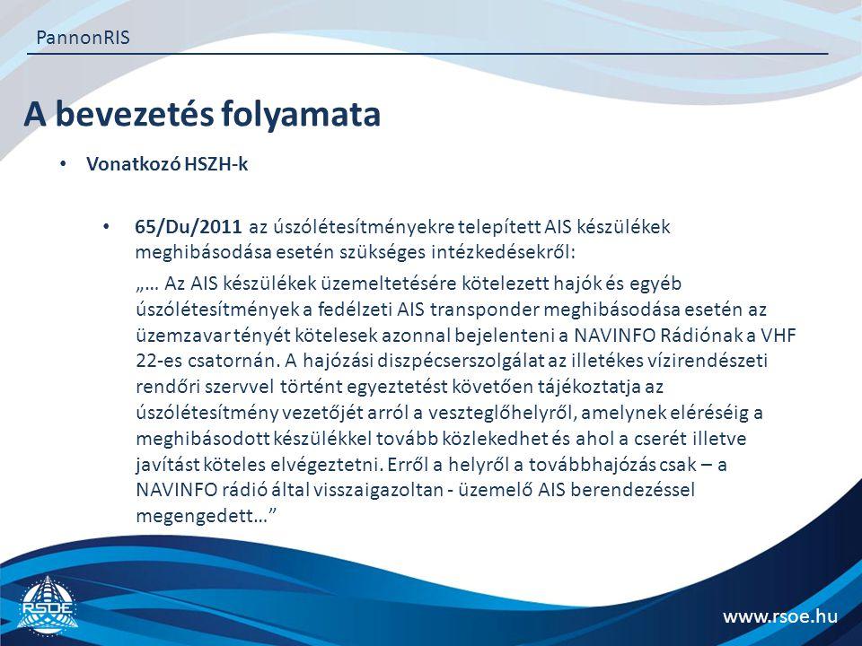 A bevezetés folyamata www.rsoe.hu PannonRIS Vonatkozó HSZH-k 65/Du/2011 az úszólétesítményekre telepített AIS készülékek meghibásodása esetén szüksége