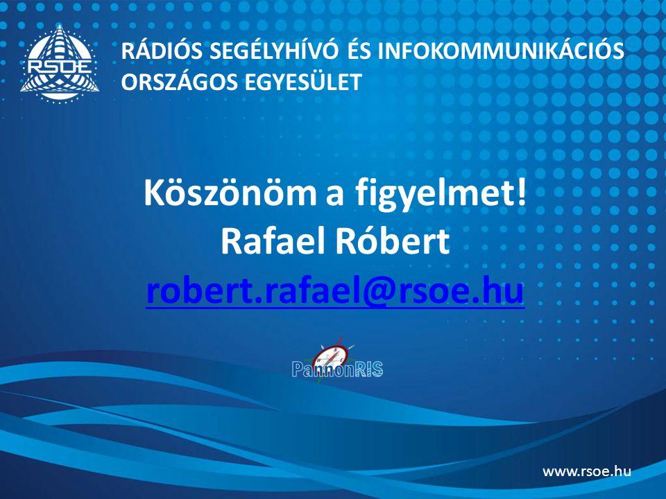 Köszönöm a figyelmet! Rafael Róbert robert.rafael@rsoe.hu robert.rafael@rsoe.hu RÁDIÓS SEGÉLYHÍVÓ ÉS INFOKOMMUNIKÁCIÓS ORSZÁGOS EGYESÜLET www.rsoe.hu