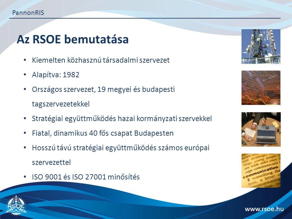 Az RSOE tevékenységei www.rsoe.hu PannonRIS IT rendszerek fejlesztése és üzemeltetése Viharjelző rendszerek fejlesztése és üzemeltetés Folyami információs szolgáltatások fejlesztése és üzemeltetése Projektmenedzsment PR, kommunikáció