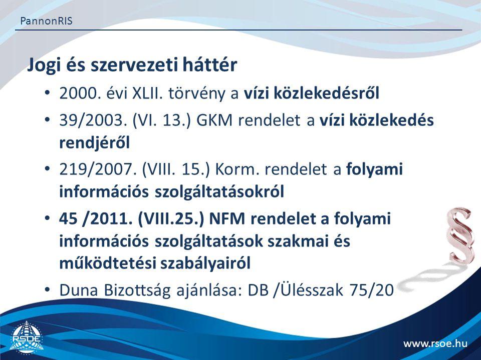 Jogi és szervezeti háttér www.rsoe.hu PannonRIS 2000. évi XLII. törvény a vízi közlekedésről 39/2003. (VI. 13.) GKM rendelet a vízi közlekedés rendjér