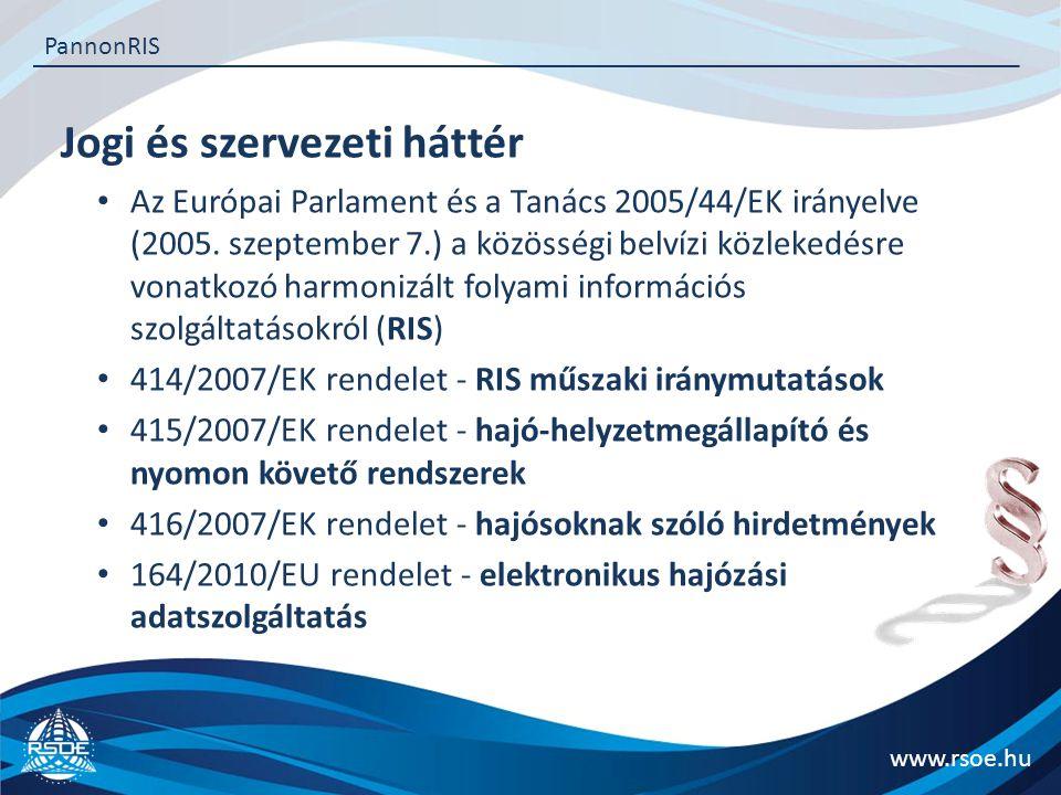 Jogi és szervezeti háttér www.rsoe.hu PannonRIS Az Inland AIS készülékek beszerzése  IRIS Europe II TEN-T projekt A projekt kedvezményezettje  Nemzeti Fejlesztési Minisztérium Az Inland AIS készülékek tulajdonosa  Magyar Állam Az Inland AIS készülékek vagyonkezelője és használatba adója  Nemzeti Közlekedési Hatóság Az Inland AIS készülékek használatba vevője  Hajósgazdák