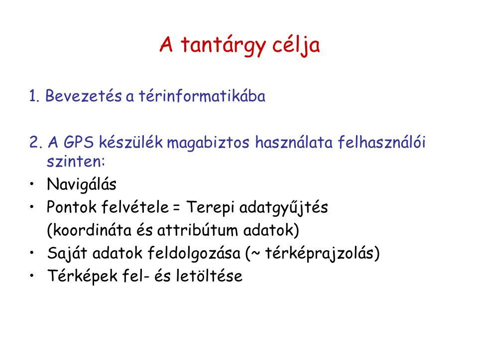 A tantárgy célja 1. Bevezetés a térinformatikába 2. A GPS készülék magabiztos használata felhasználói szinten: Navigálás Pontok felvétele = Terepi ada