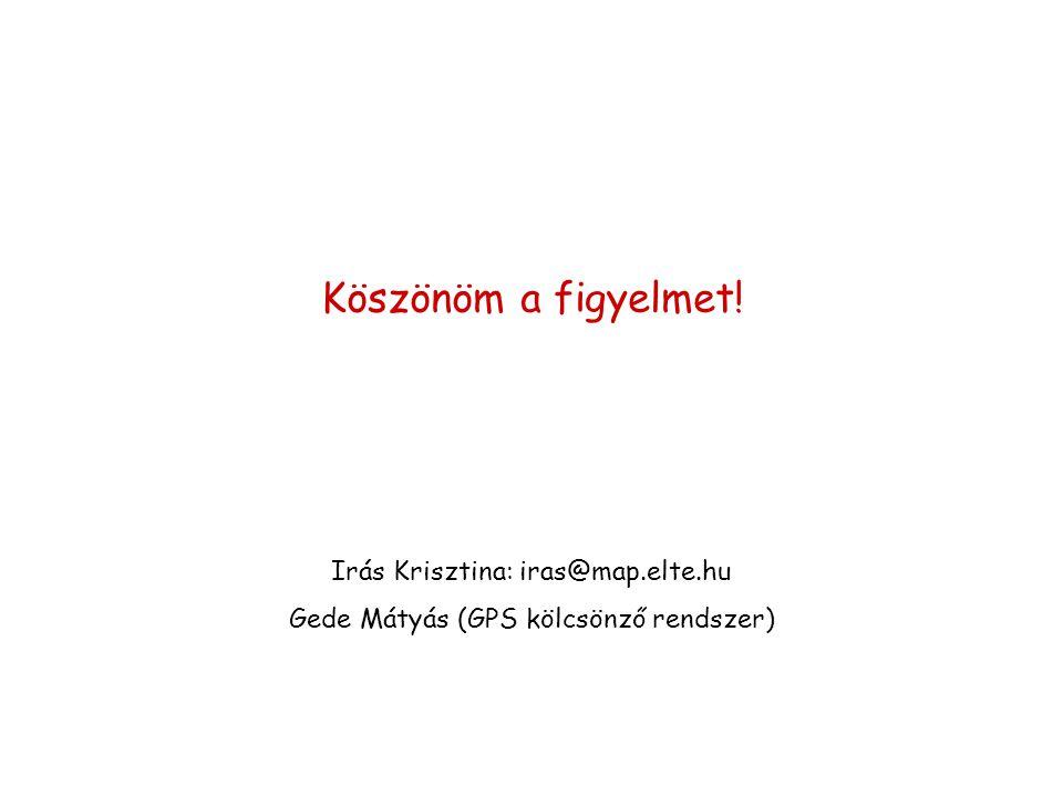 Köszönöm a figyelmet! Irás Krisztina: iras@map.elte.hu Gede Mátyás (GPS kölcsönző rendszer)