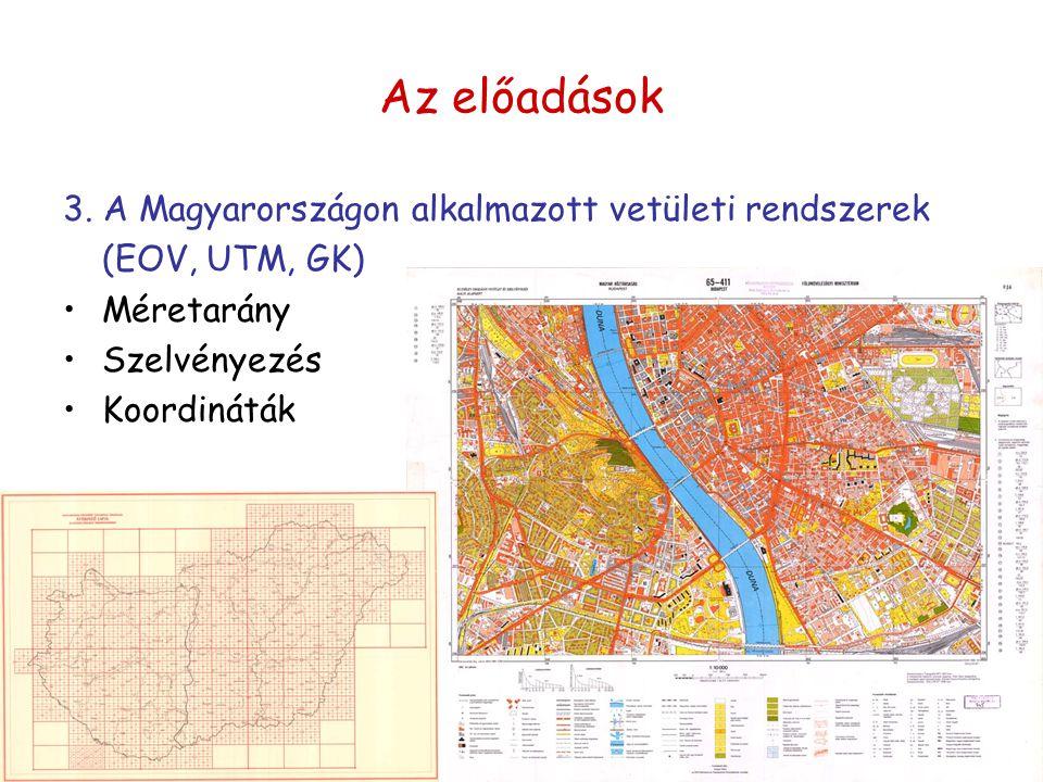 Az előadások 3. A Magyarországon alkalmazott vetületi rendszerek (EOV, UTM, GK) Méretarány Szelvényezés Koordináták