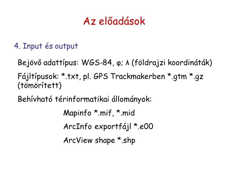 Bejövő adattípus: WGS-84, φ; λ (földrajzi koordináták) Fájltípusok: *.txt, pl. GPS Trackmakerben *.gtm *.gz (tömörített) Behívható térinformatikai áll