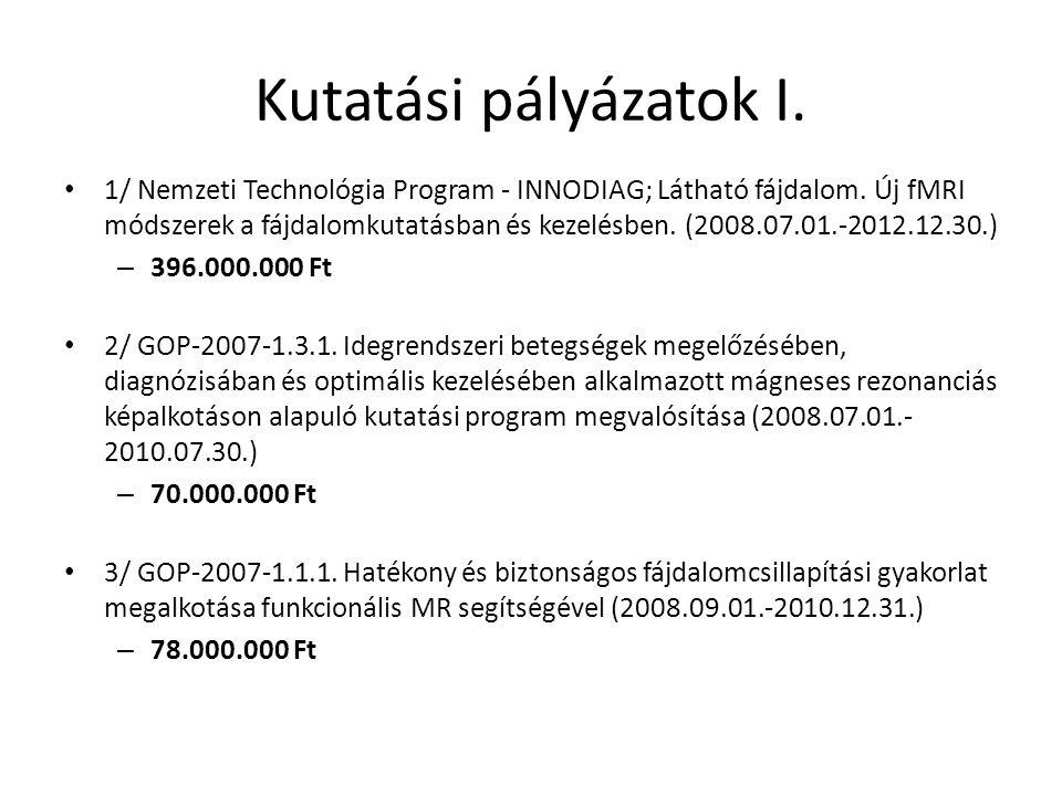 Kutatási pályázatok I.1/ Nemzeti Technológia Program - INNODIAG; Látható fájdalom.