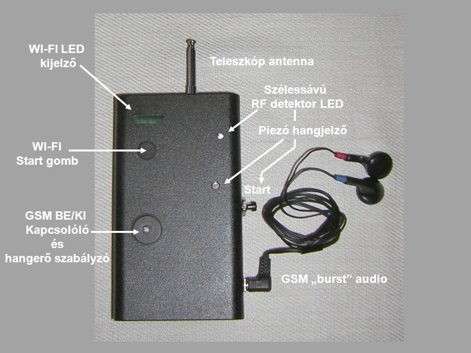 """WI-FI LED kijelző WI-FI Start gomb GSM BE/KI Kapcsolóló és hangerő szabályzó Teleszkóp antenna Szélessávú RF detektor LED Piezó hangjelző GSM """"burst"""""""