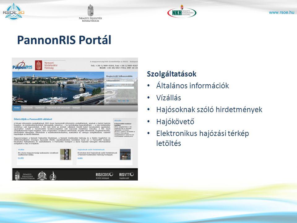 PannonRIS Portál Szolgáltatások Általános információk Vízállás Hajósoknak szóló hirdetmények Hajókövető Elektronikus hajózási térkép letöltés