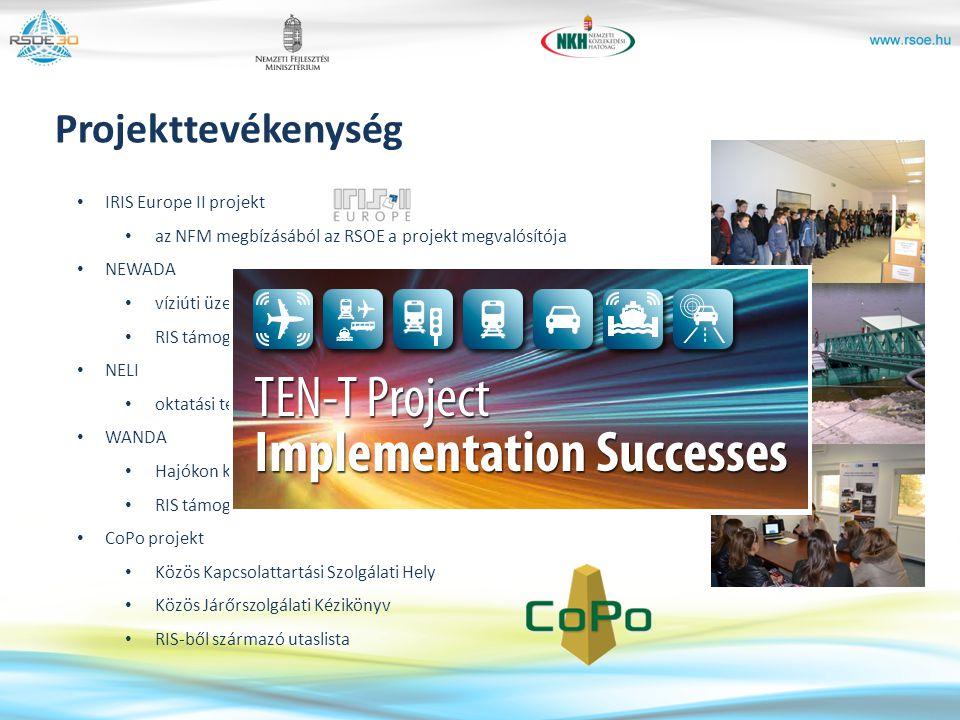 IRIS Europe II projekt az NFM megbízásából az RSOE a projekt megvalósítója NEWADA víziúti üzemeltetők hálózata RIS támogatással NELI oktatási tevékeny