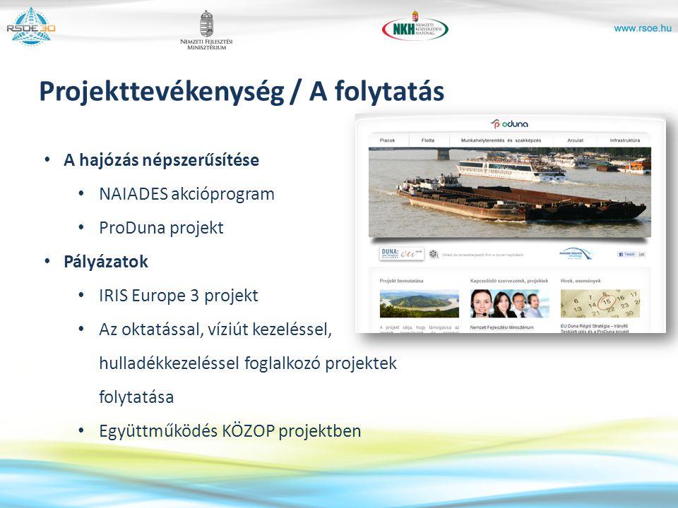 A hajózás népszerűsítése NAIADES akcióprogram ProDuna projekt Pályázatok IRIS Europe 3 projekt Az oktatással, víziút kezeléssel, hulladékkezeléssel fo