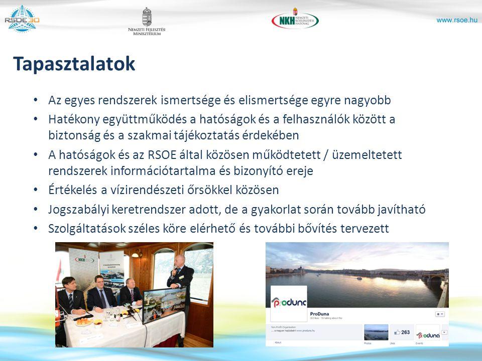 Tapasztalatok Az egyes rendszerek ismertsége és elismertsége egyre nagyobb Hatékony együttműködés a hatóságok és a felhasználók között a biztonság és