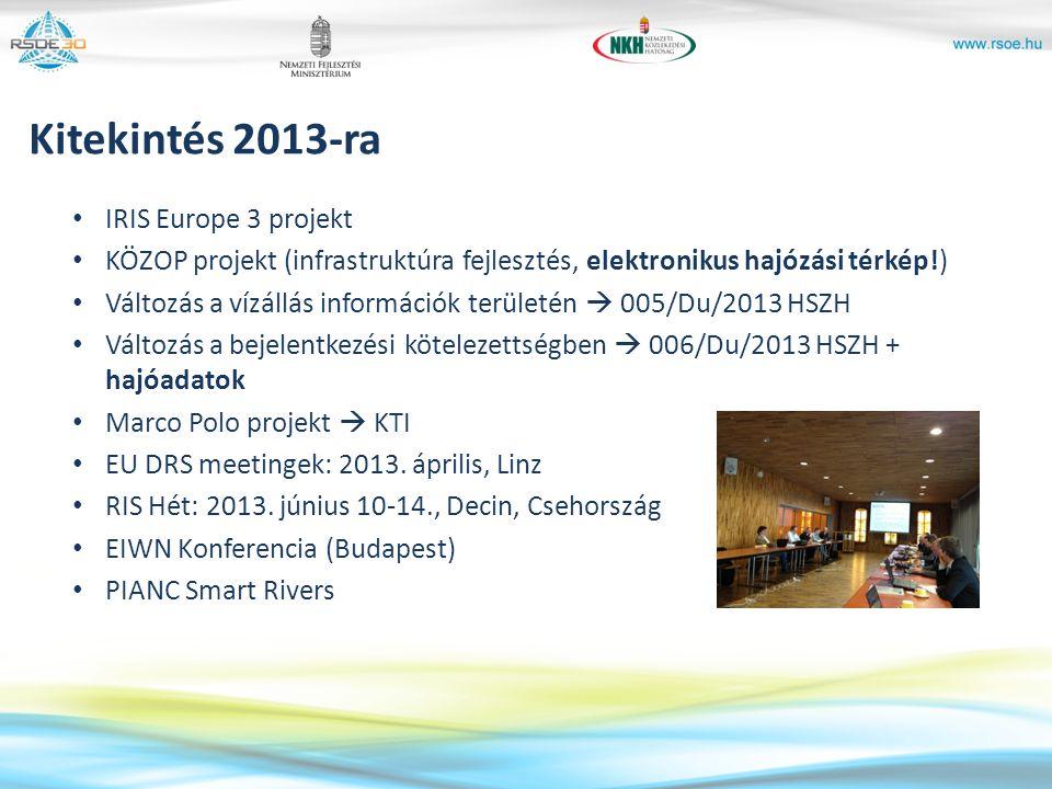 Kitekintés 2013-ra IRIS Europe 3 projekt KÖZOP projekt (infrastruktúra fejlesztés, elektronikus hajózási térkép!) Változás a vízállás információk terü