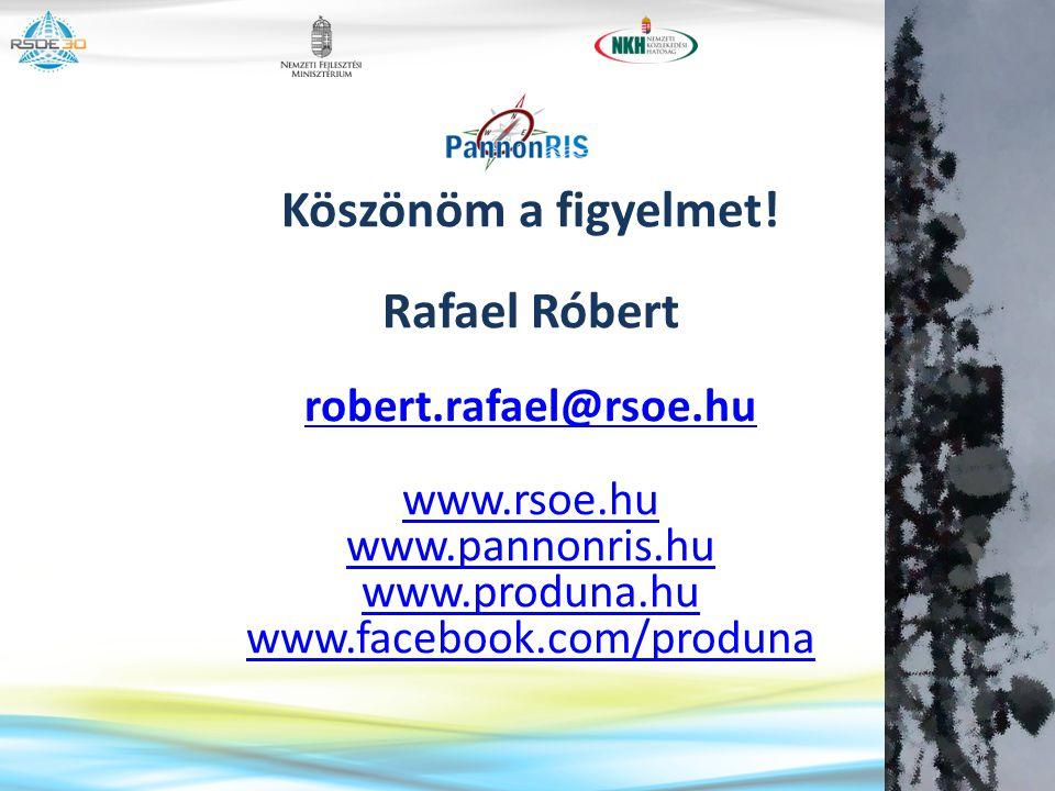 Köszönöm a figyelmet! Rafael Róbert robert.rafael@rsoe.hu www.rsoe.hu www.pannonris.hu www.produna.hu www.facebook.com/produna