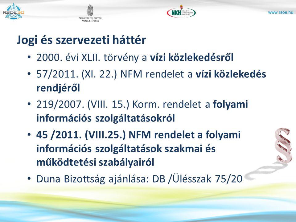 Jogi és szervezeti háttér 2000. évi XLII. törvény a vízi közlekedésről 57/2011. (XI. 22.) NFM rendelet a vízi közlekedés rendjéről 219/2007. (VIII. 15