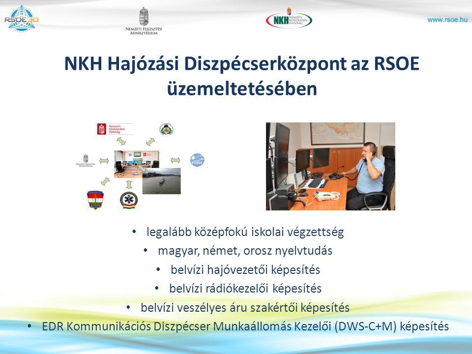 NKH Hajózási Diszpécserközpont az RSOE üzemeltetésében legalább középfokú iskolai végzettség magyar, német, orosz nyelvtudás belvízi hajóvezetői képes