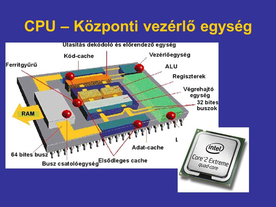 CPU – Központi vezérlő egység
