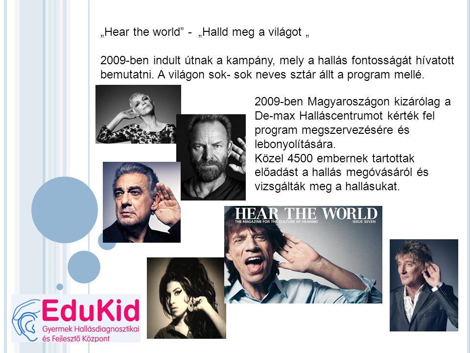 """""""Hear the world"""" - """"Halld meg a világot """" 2009-ben indult útnak a kampány, mely a hallás fontosságát hívatott bemutatni. A világon sok- sok neves sztá"""