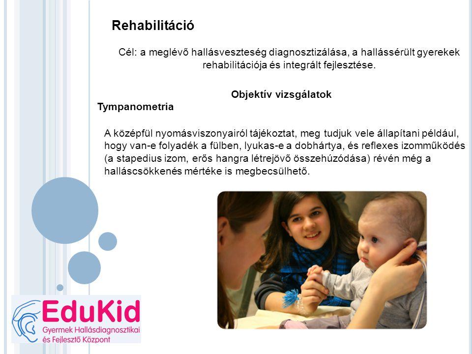 Rehabilitáció Cél: a meglévő hallásveszteség diagnosztizálása, a hallássérült gyerekek rehabilitációja és integrált fejlesztése. Objektív vizsgálatok