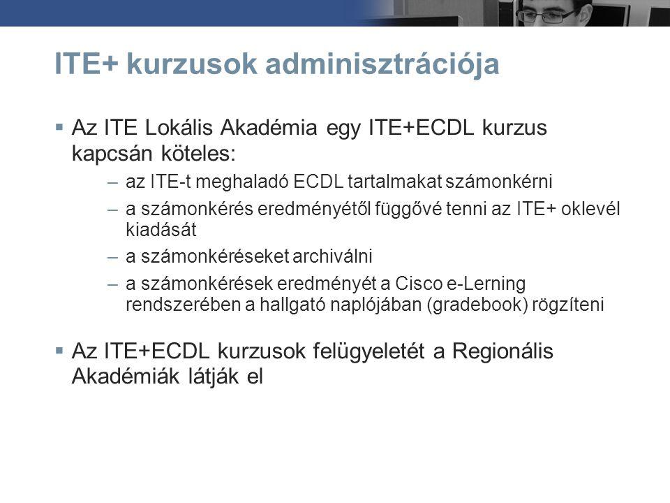 ITE+ kurzusok adminisztrációja  Az ITE Lokális Akadémia egy ITE+ECDL kurzus kapcsán köteles: –az ITE-t meghaladó ECDL tartalmakat számonkérni –a szám