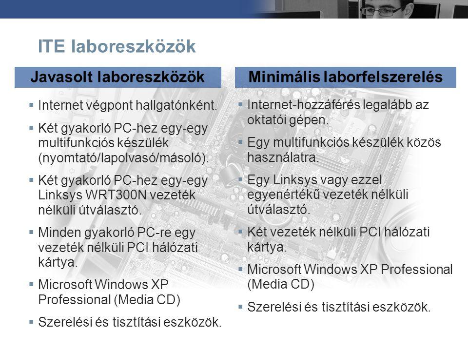 ITE laboreszközök  Internet végpont hallgatónként.  Két gyakorló PC-hez egy-egy multifunkciós készülék (nyomtató/lapolvasó/másoló).  Két gyakorló P