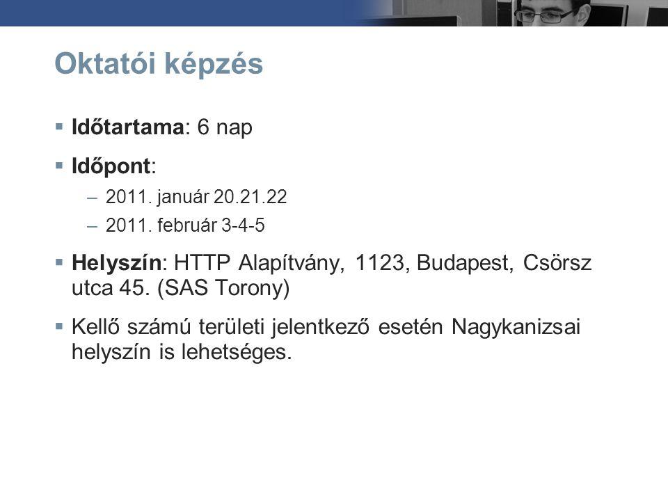 Oktatói képzés  Időtartama: 6 nap  Időpont: –2011. január 20.21.22 –2011. február 3-4-5  Helyszín: HTTP Alapítvány, 1123, Budapest, Csörsz utca 45.