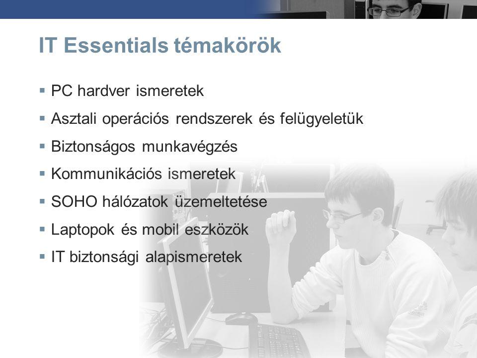 IT Essentials témakörök  PC hardver ismeretek  Asztali operációs rendszerek és felügyeletük  Biztonságos munkavégzés  Kommunikációs ismeretek  SO
