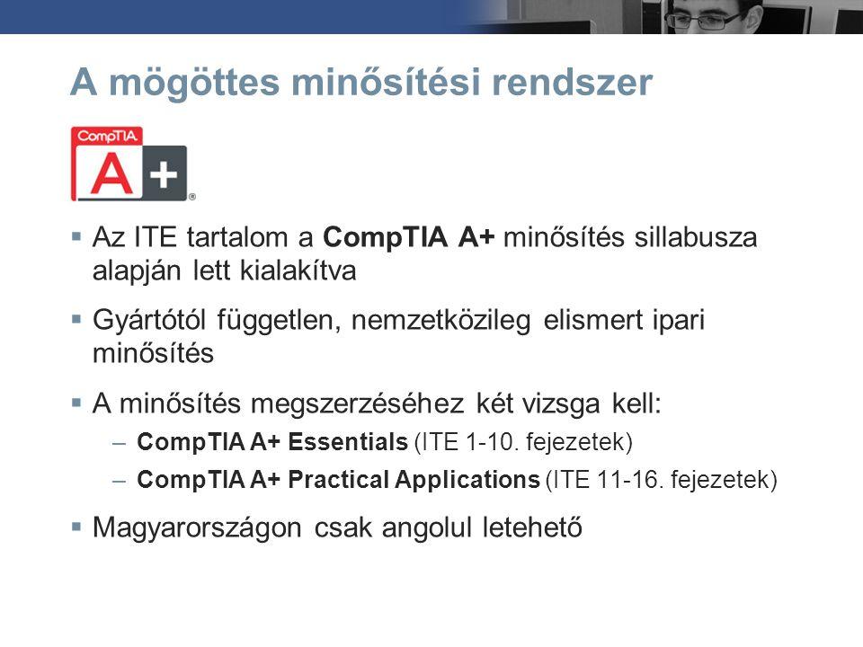 A mögöttes minősítési rendszer  Az ITE tartalom a CompTIA A+ minősítés sillabusza alapján lett kialakítva  Gyártótól független, nemzetközileg elisme