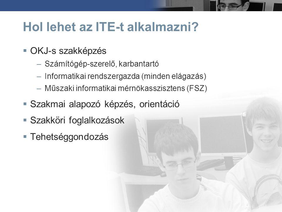Hol lehet az ITE-t alkalmazni?  OKJ-s szakképzés –Számítógép-szerelő, karbantartó –Informatikai rendszergazda (minden elágazás) –Műszaki informatikai