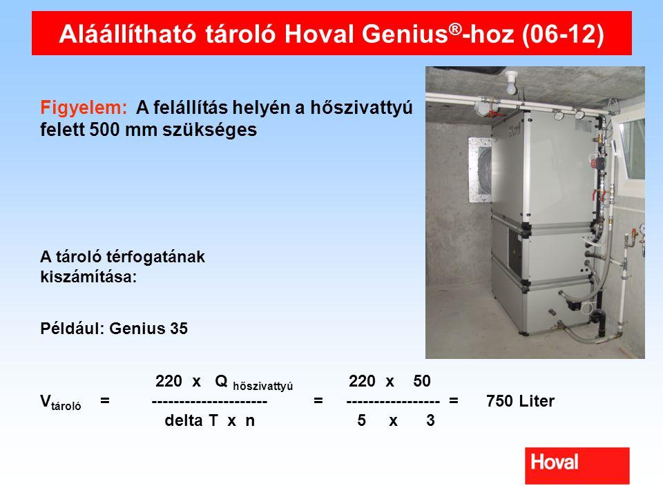 Aláállítható tároló Hoval Genius ® -hoz (06-12) Figyelem: A felállítás helyén a hőszivattyú felett 500 mm szükséges A tároló térfogatának kiszámítása: 220 x Q hőszivattyú 220 x 50 V tároló = --------------------- = ----------------- = 750 Liter delta T x n 5 x 3 Például: Genius 35