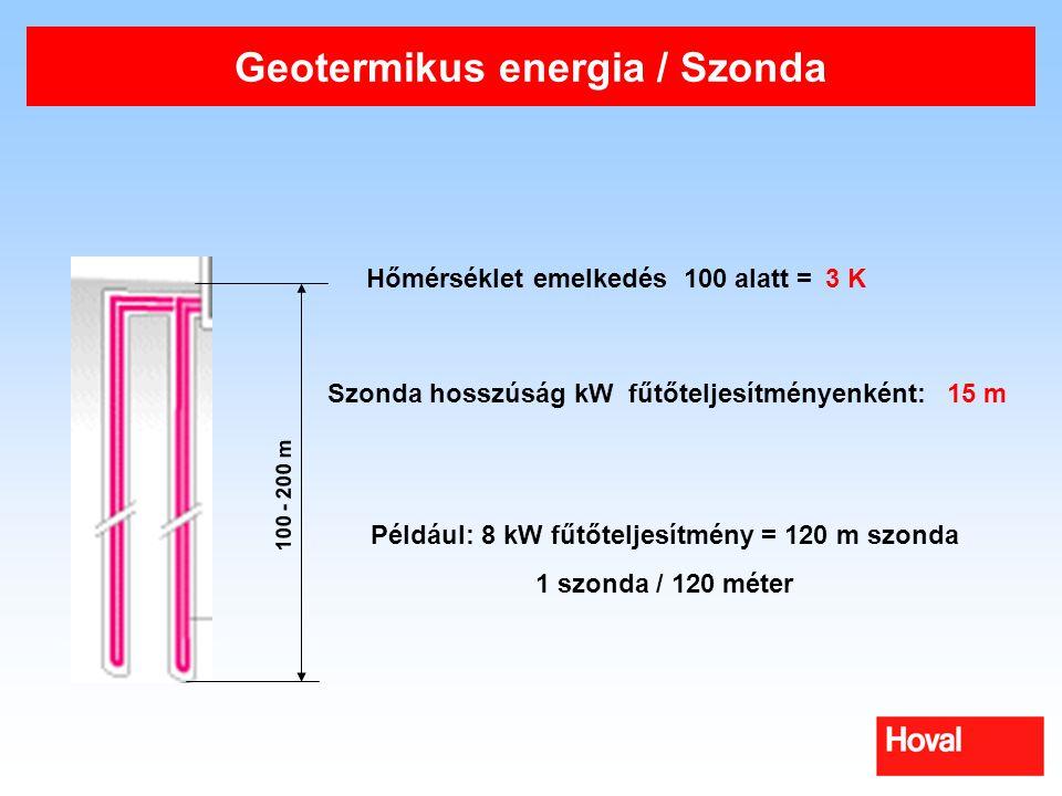 Geotermikus energia / Szonda 100 - 200 m Hőmérséklet emelkedés 100 alatt = Szonda hosszúság kW fűtőteljesítményenként: Például: 8 kW fűtőteljesítmény = 120 m szonda 1 szonda / 120 méter 3 K 15 m