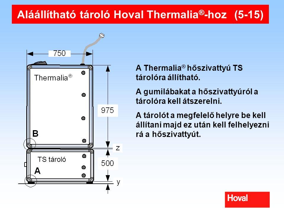 Aláállítható tároló Hoval Thermalia ® -hoz (5-15) A Thermalia ® hőszivattyú TS tárolóra állítható. A gumilábakat a hőszivattyúról a tárolóra kell átsz
