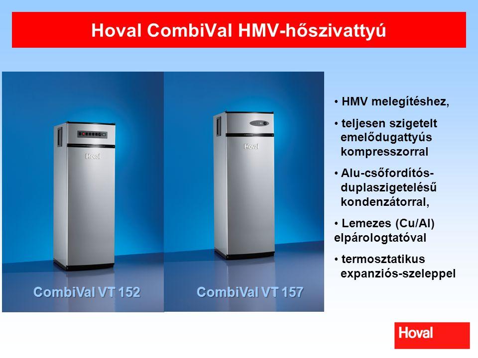 Hoval CombiVal HMV-hőszivattyú HMV melegítéshez, teljesen szigetelt emelődugattyús kompresszorral Alu-csőfordítós- duplaszigetelésű kondenzátorral, Le