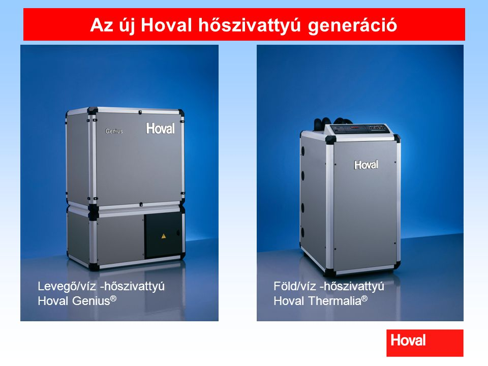 Az új Hoval hőszivattyú generáció Levegő/víz -hőszivattyú Hoval Genius ® Föld/víz -hőszivattyú Hoval Thermalia ®