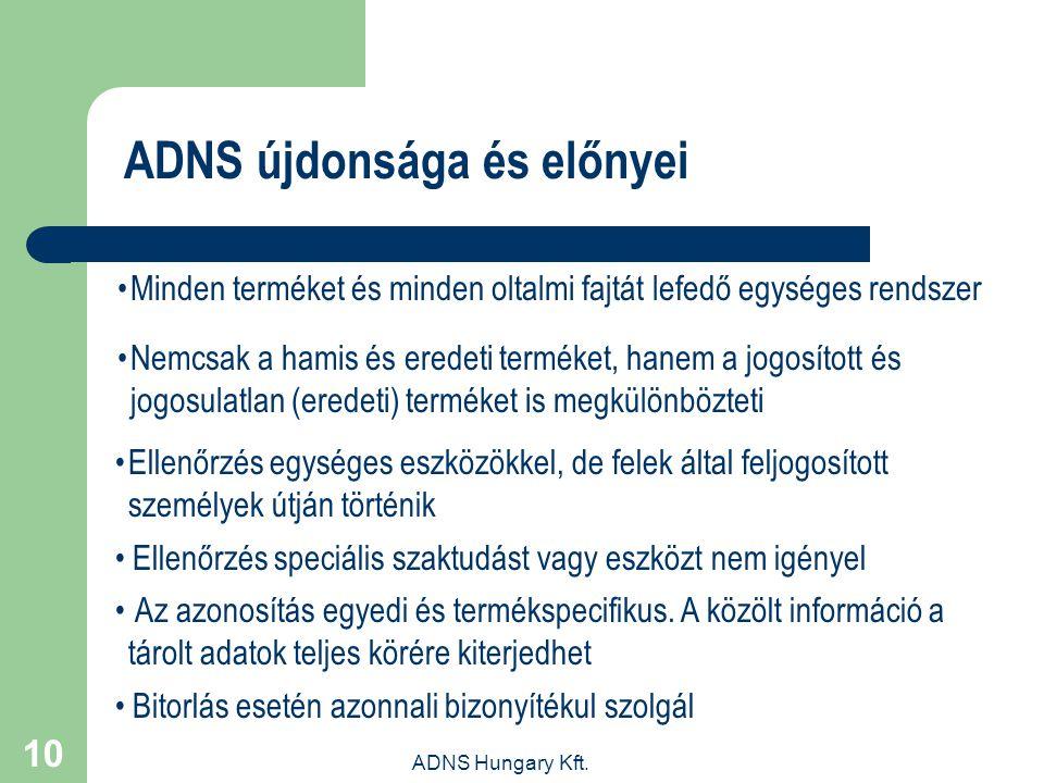 ADNS Hungary Kft. 10 ADNS újdonsága és előnyei Minden terméket és minden oltalmi fajtát lefedő egységes rendszer Nemcsak a hamis és eredeti terméket,