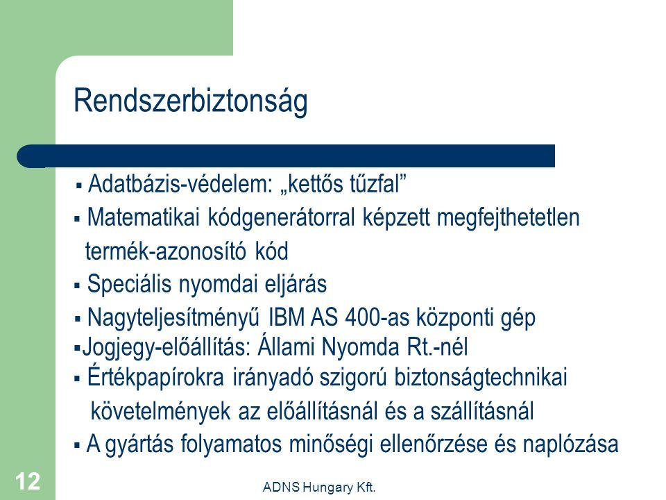 """ADNS Hungary Kft. 12 Rendszerbiztonság  Adatbázis-védelem: """"kettős tűzfal""""  Matematikai kódgenerátorral képzett megfejthetetlen termék-azonosító kód"""