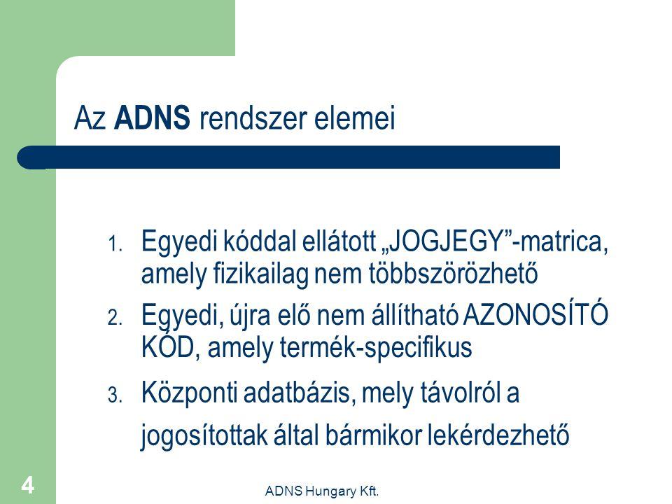 """ADNS Hungary Kft. 4 Az ADNS rendszer elemei 1. Egyedi kóddal ellátott """"JOGJEGY""""-matrica, amely fizikailag nem többszörözhető 2. Egyedi, újra elő nem á"""